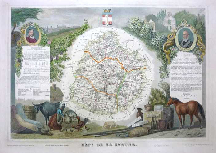 Sarthe Department map. Levasseur decorative map of Le Mans region c1859