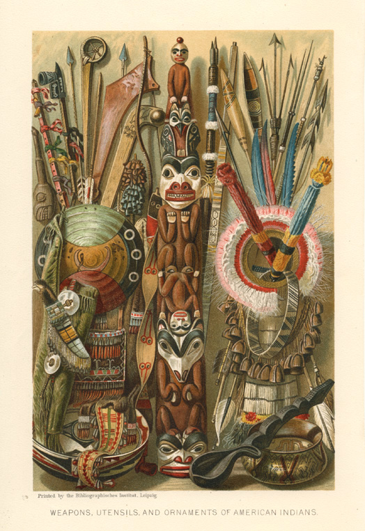 Weapons, Utensils, and Ornaments of American Indians. Lithograph c1904.