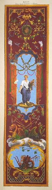 "August ""Aout"" print. 18th century classical wall panel."