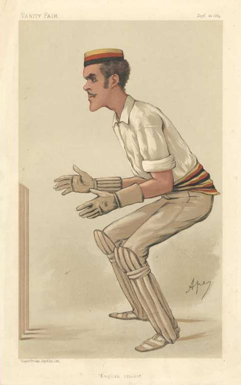 English Cricket, original Vanity Fair lithograph of the Hon. A. Lyttelton, c1884
