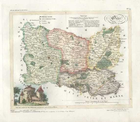 Oise, Picardie decorative antique map of France. Lorrain, c1836
