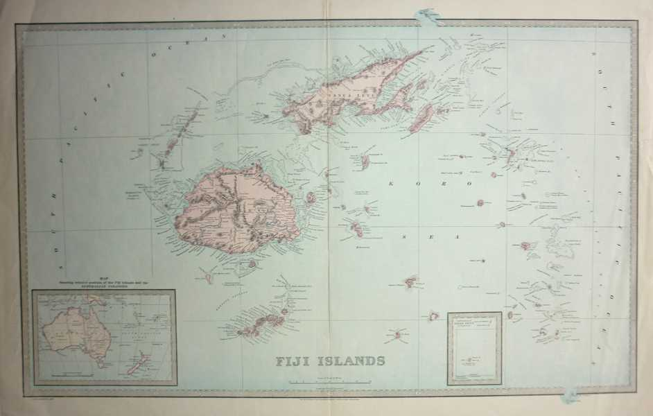 Map Of Australia New Zealand And Fiji.Antique Print Club Fiji Islands Inset Australia And New Zealand