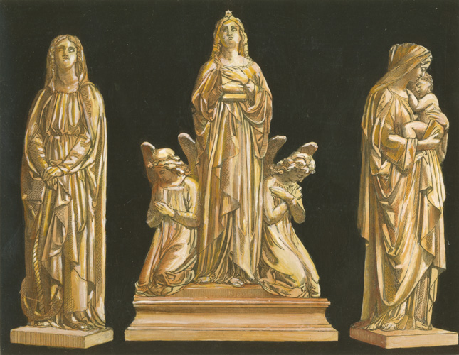 Hope, Faith, Charity engraving c1858. John Thomas statues.