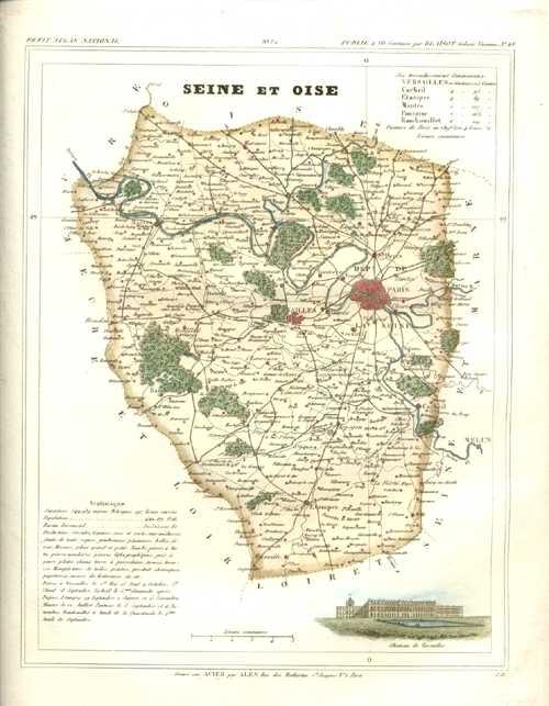 Map Of France Versailles.Antique Print Club Seine Et Oise Department With Versailles