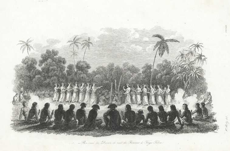 Tonga. Night Dance in front of visitors. D'Urville c1834