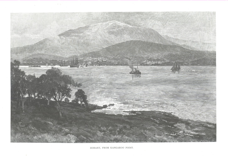 Hobart, from Kangaroo Point, with Mt. Wellington c1886