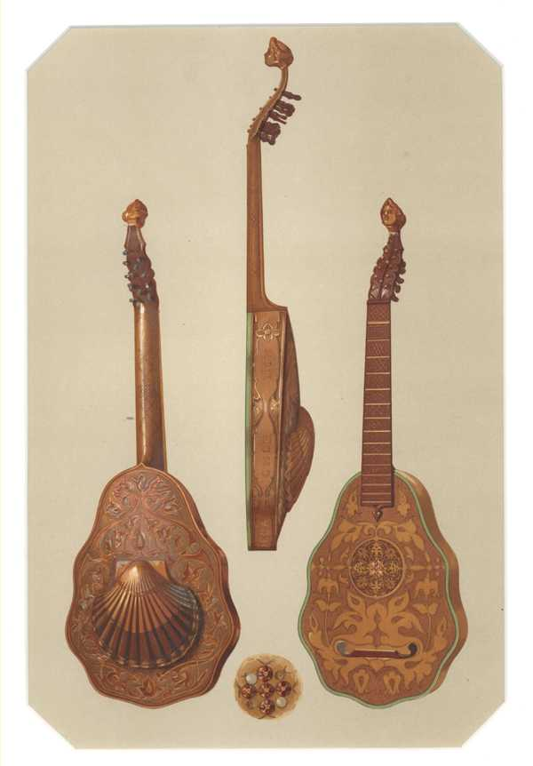Queen Elizabeth's Lute. Hipkins Historic Musical Instruments lithograph c1888.