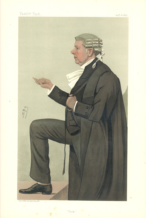 """York"" legal caricature from Vanity Fair. Leslie Ward c1887."