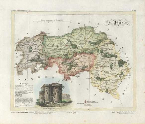 Orne Department, Basse-Normandie, France Antique Map by Lorrain c1836