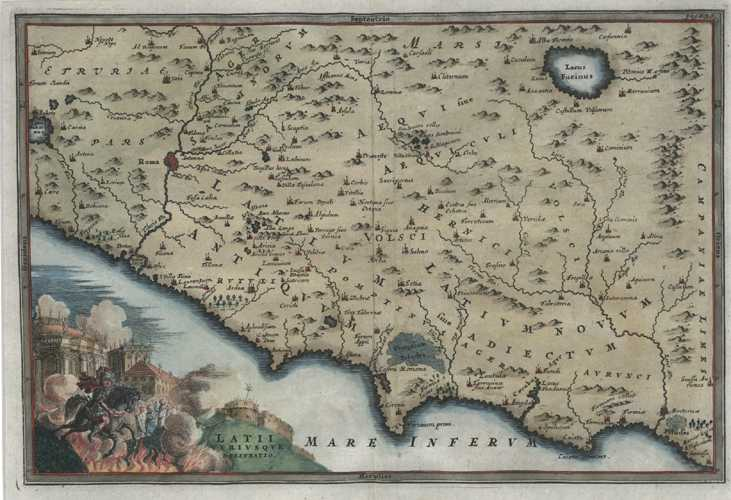 Italy antique map Latii Utriusque delineatio. Cellarius c1732