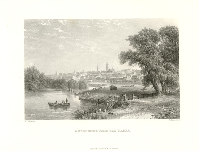 Melbourne from the Yarra, engraving after Nicholas Chevalier c1874.