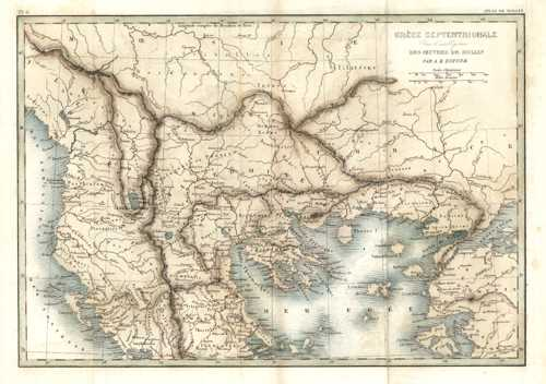 Ancient Greece map. Grece Septentrionale by Rollin. Dufour c1837