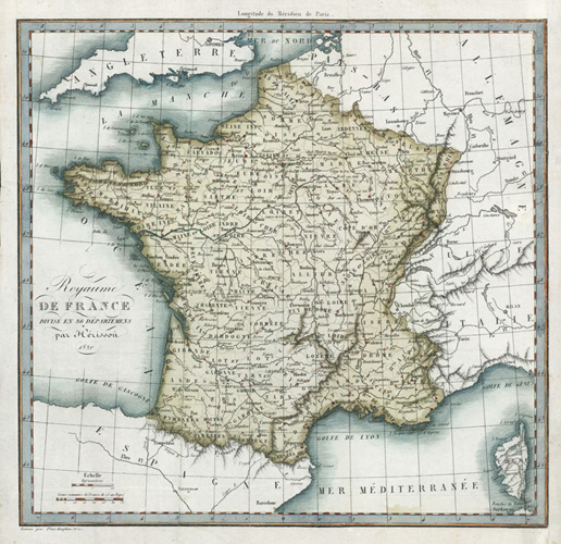 Royaume de France (Kingdom of France) antique map, c1820.