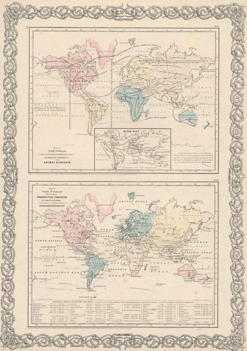 Map of World: Animal Kingdom, Productive Industry, Commercial Navigation. Colton, c1855.