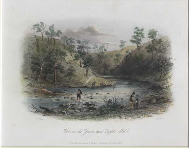 View of the Yarra, Victoria. S.T. Gill Antique Print c1857