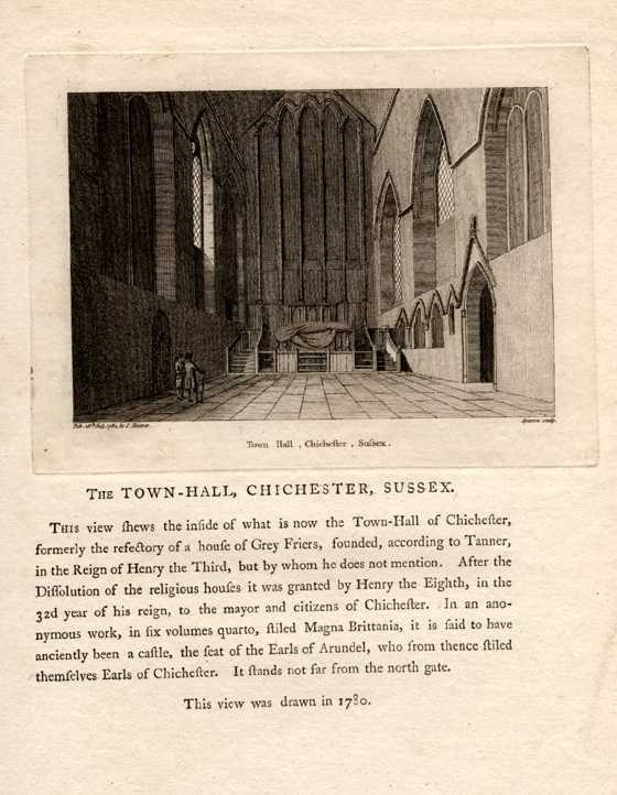 The Town Hall, Chichester, Sussex. House of Grey Friars. c1785