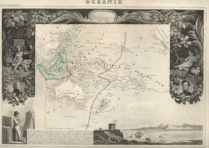 Oceanie. French Antique map with Dumont D'Urville's Pacific Island group names. Levasseur, c1854.