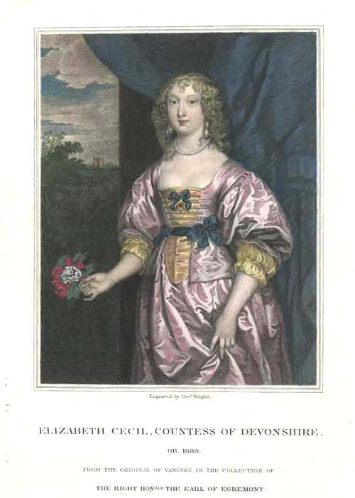 Elizabeth Cecil, Countess of Devonshire. ob. 1689. Beautiful engraving c1829.