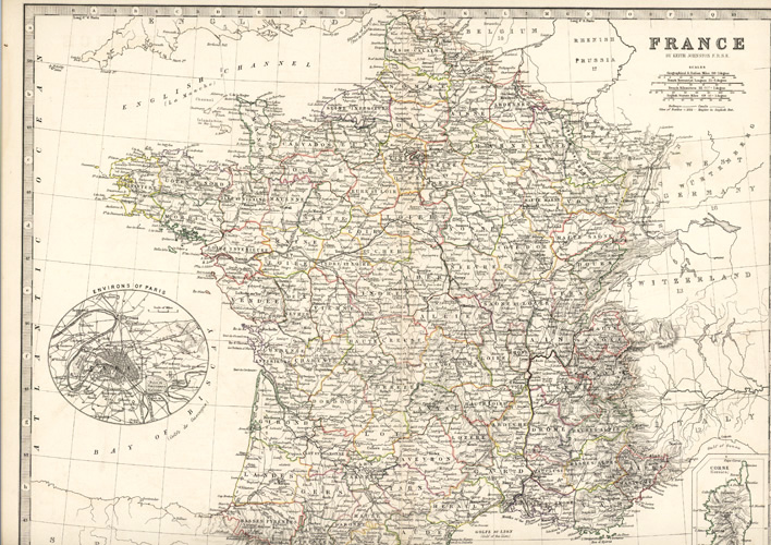 Environs of Paris, France by Keith Johnson F.R.S.E. c1861.