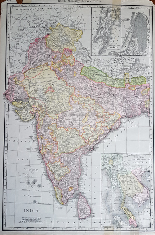 India. Bombay, Calcutta, IndoChina and Farther India. c1893.