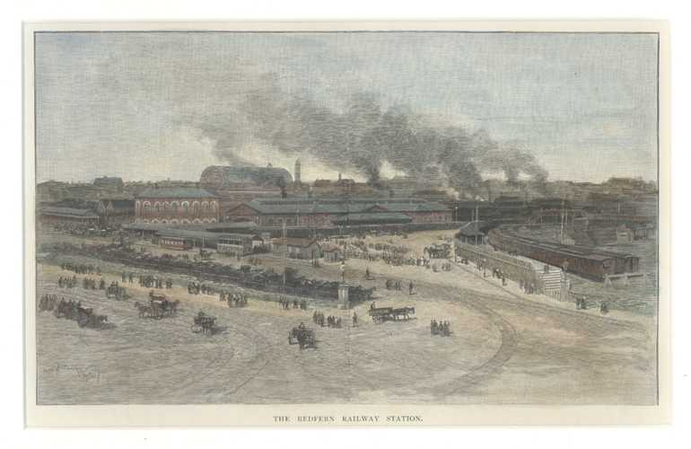 Railway, Trains. Redfern Railway Station, Sydney. Early engraving c1886