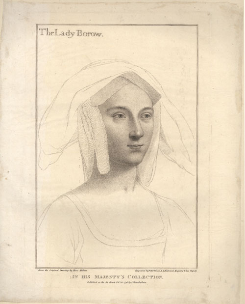 Holbein engraved portrait of The Lady Borow (Lady Borough). Bartolozzi c1796