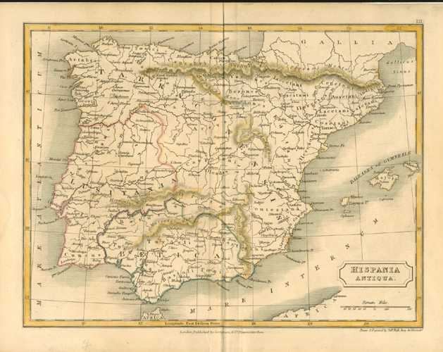 Hispania Antiqua (Antique Spain) Antique Map by Sidney Hall c1880