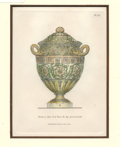 Henry Moses antique print of Classical Vase c1811.