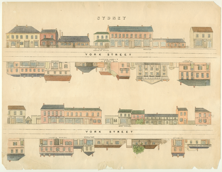 York Street. Wonderful Fowles Sydney Street engraving c1848.