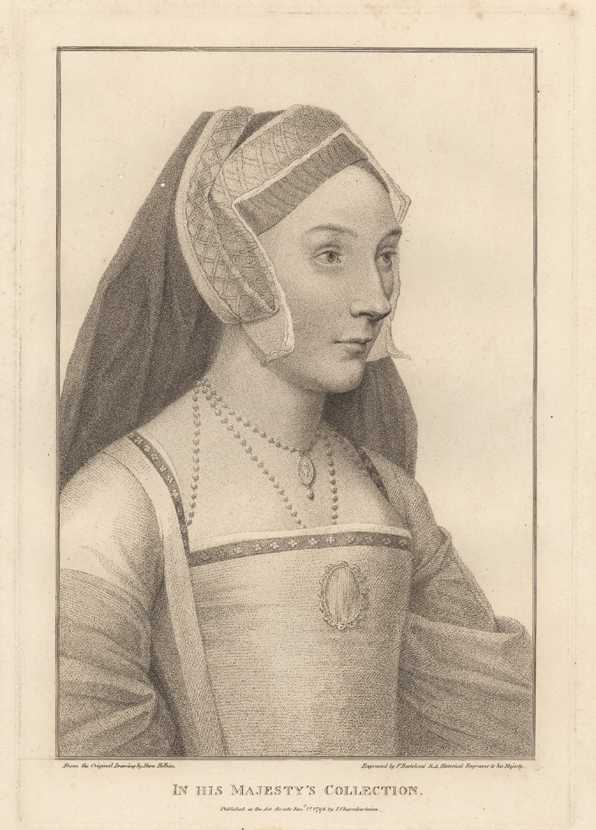Hans Holbein Portrait of a Lady 6. Bartolozzi Antique Print c1795