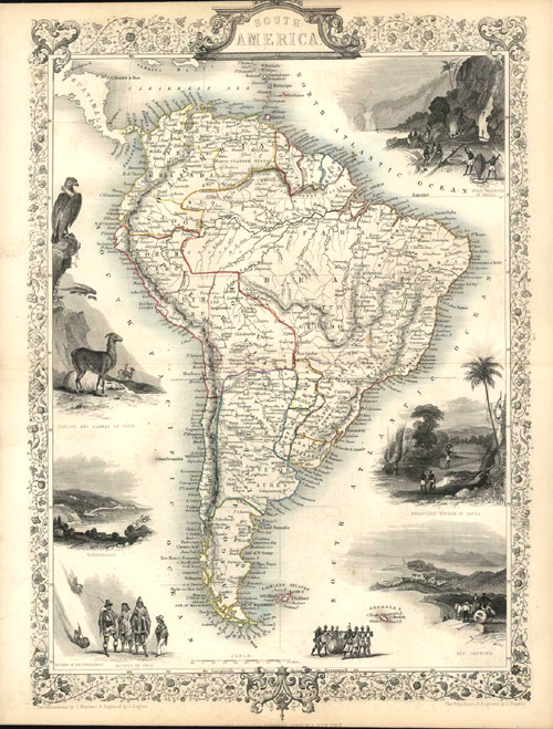 South America finely embellished John Tallis antique map c1851.