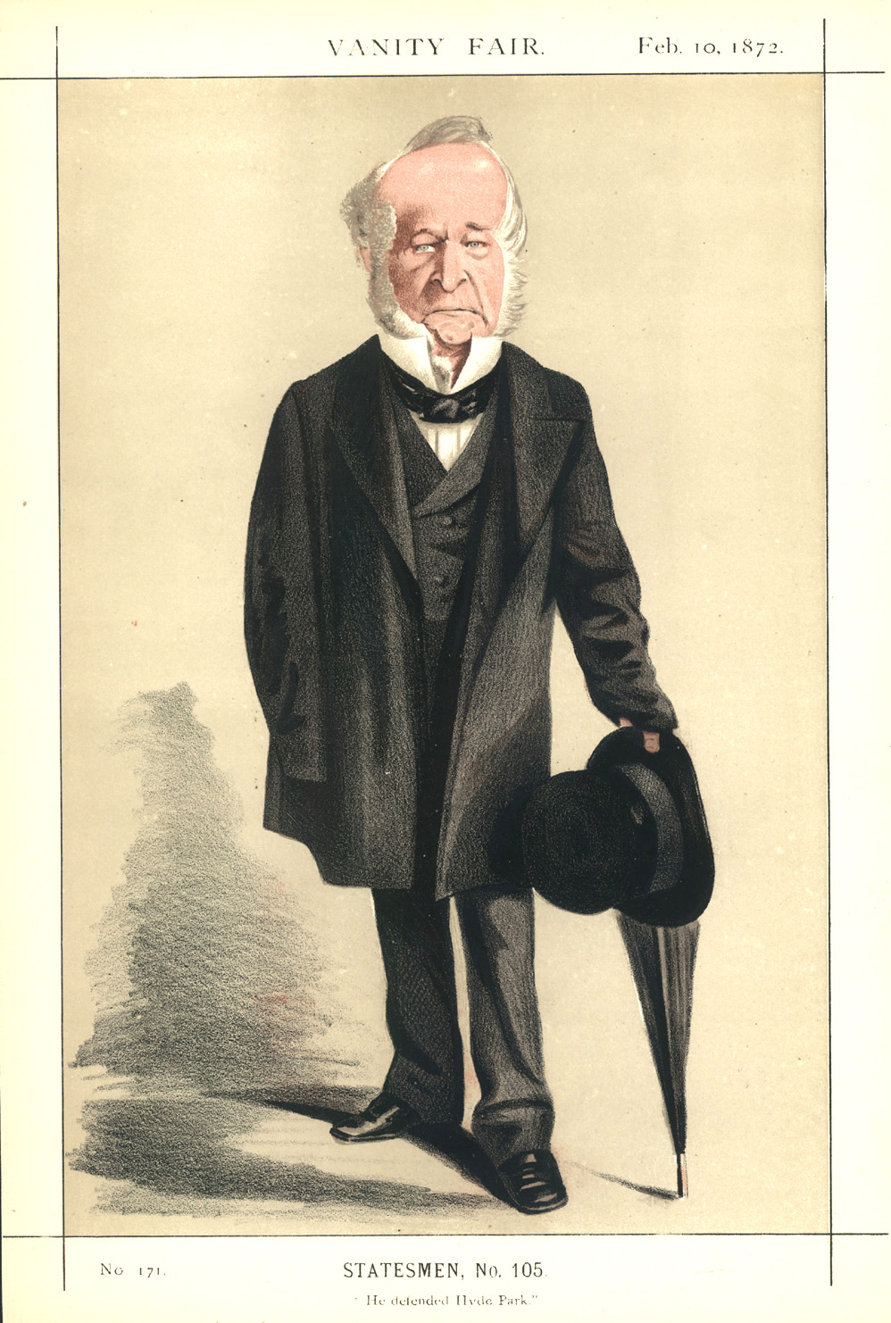 """He defended Hyde Park."" Spencer Horatio Walpole caricature c1872."