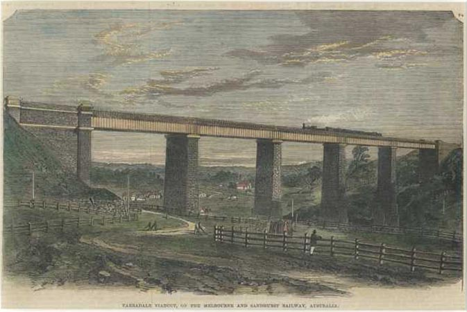 Railway Train. Tarradale Viaduct, on Melbourne-Sandhurst Railway, Australia c1864