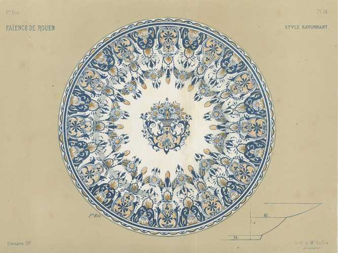 Large lithograph of Faience Plate. French Rococo decoration. c1870