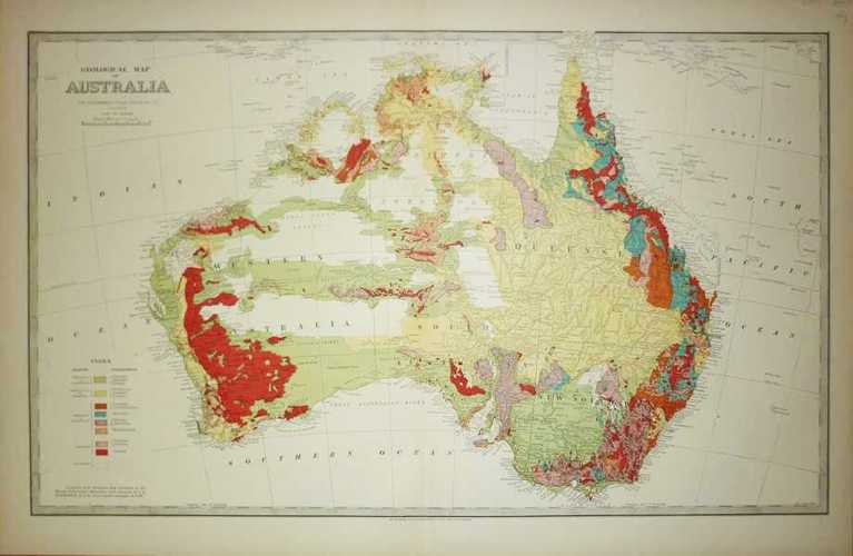 Geological Map of Australia with Mineral Deposits. Wilkinson, c1888.