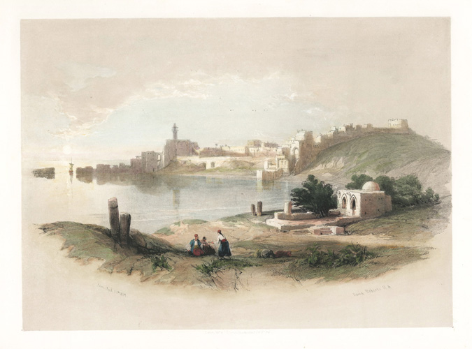 David Roberts, Sidon. Lebanon lithograph c1842 by Louis Haghe from watercolour c1839 by David Roberts