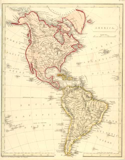 Becker antique map of North and South America c1860