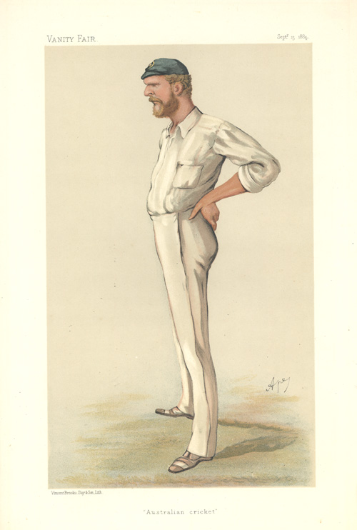 """Australian Cricket"", George Bonnor Vanity Fair caricature c1884."