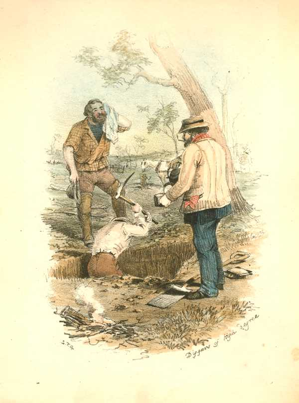 Australian Goldfields. Diggers of High Degree. ST Gill lithograph c1853.