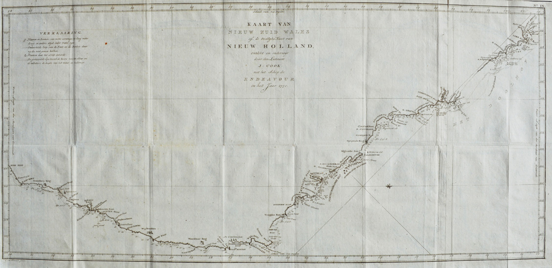 Dutch edition. Cook's East Coast of Australia chart. c1780