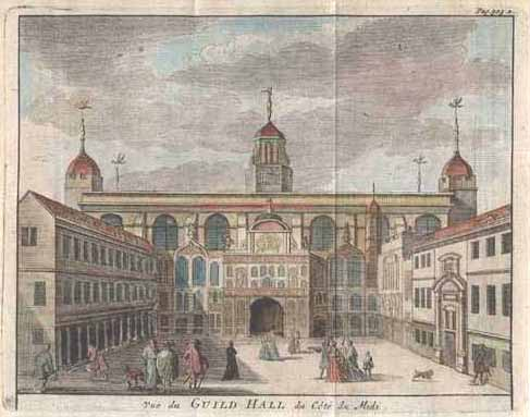 Beeverell antique print of London Guildhall (Trades Hall) c1727