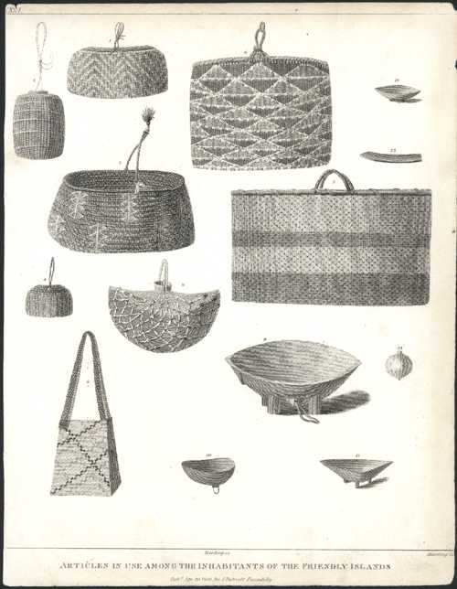 Tongan Articles. Woven Baskets and Carved Bowls. D'Entrecasteaux c1800
