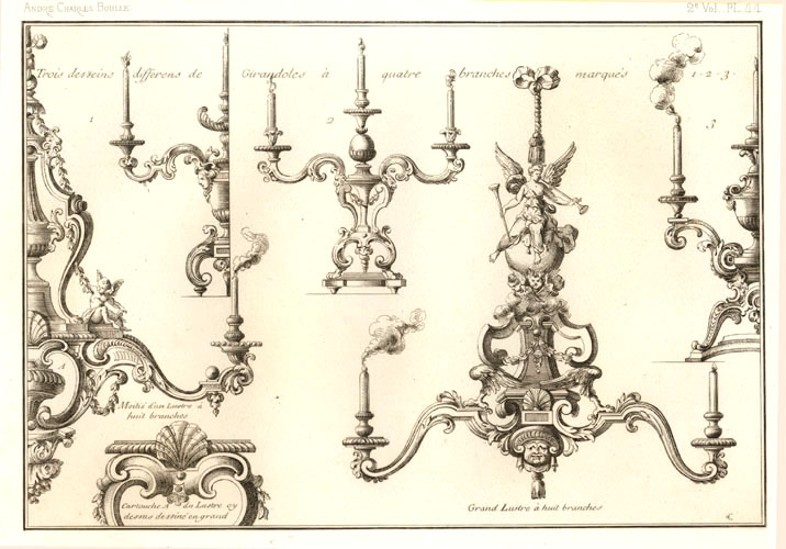 Andre Charles Boulle French candelabra designs. Antique Print c1863