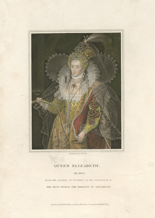 Queen Elizabeth finely engraved by W.T. Fry c1829.