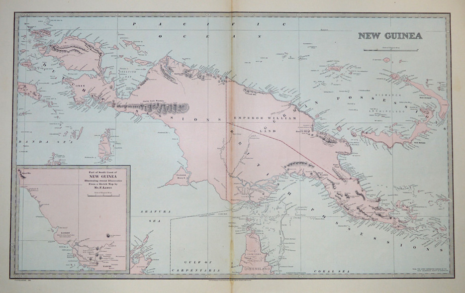 PNG. Papua New Guinea antique map. Cape York c1888.