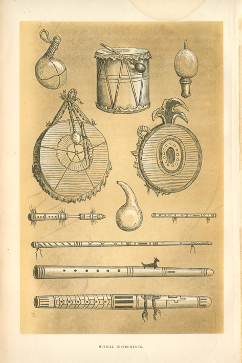 American Indian Musical Instruments. Rare antique print c1860.