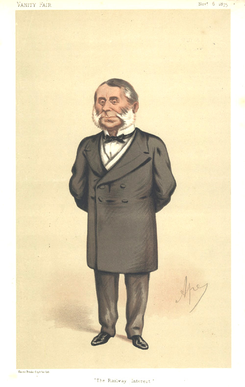 """The Railway Interest"" Vanity Fair caricature with mutton-chops, c1875."