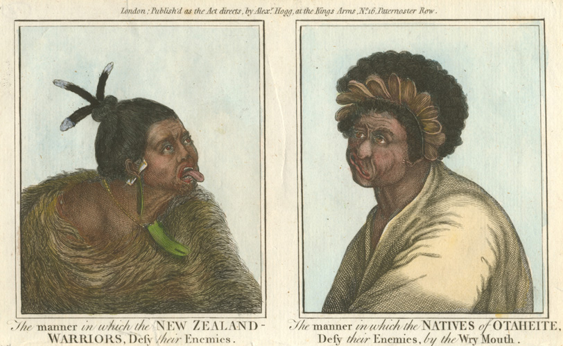 New Zealand Warriors, Defy their Enemies. Wry-Mouth. c1790