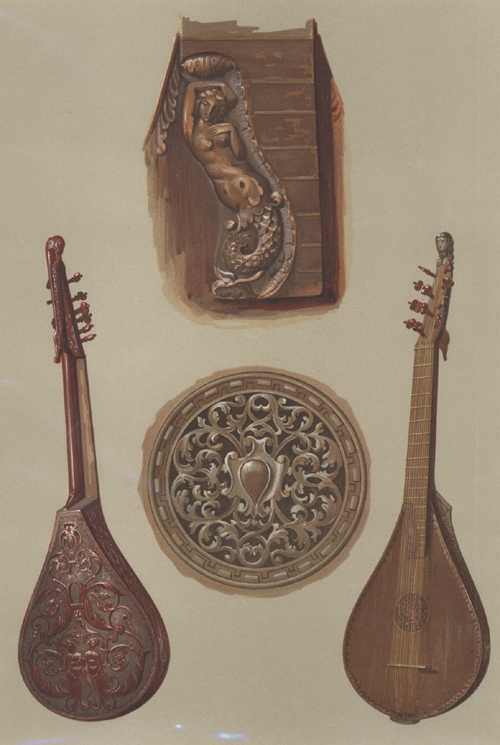 Cetera or Cither, Hipkins' Historic Musical Instruments lithograph c1888