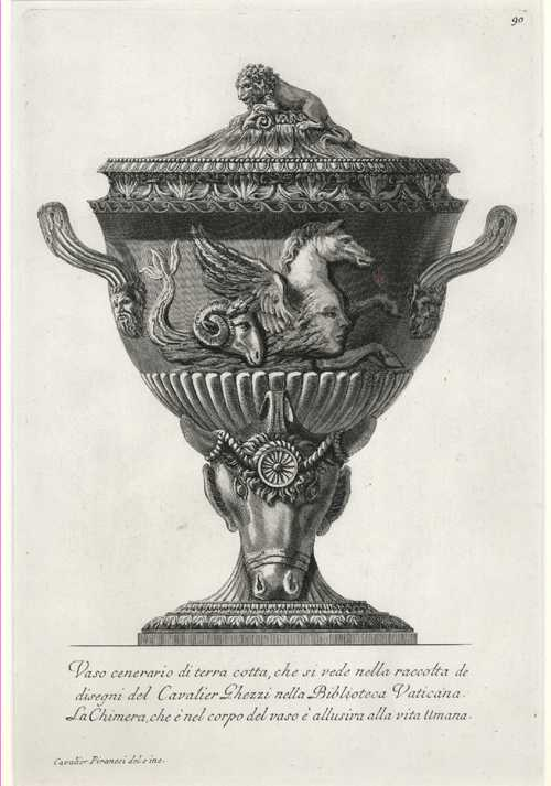 Rare original Piranesi etching circa 1778 of Terracotta Cinerary Urn.